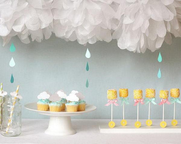 rain themed baby shower for girl 26