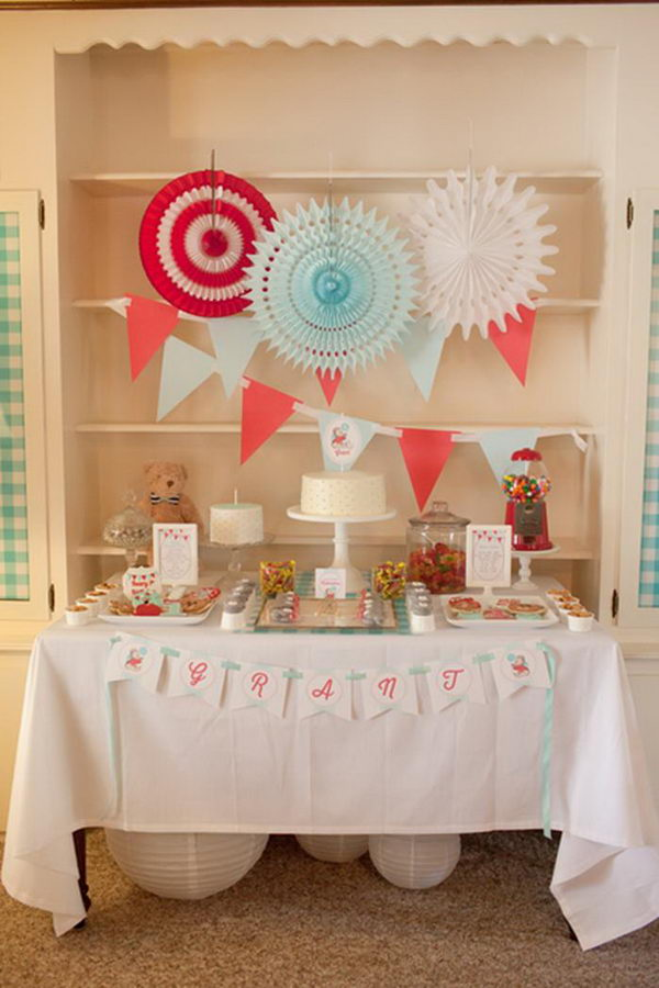 vintage bear themed baby shower 32