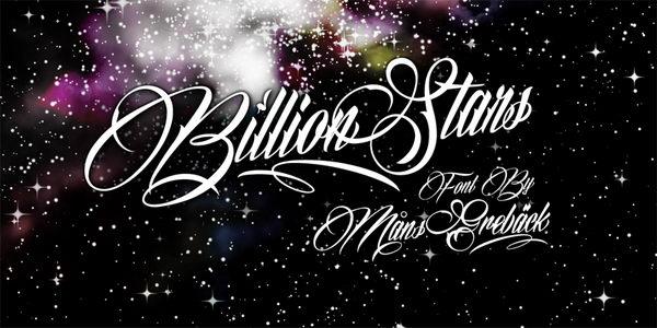 billion stars cursive font 4