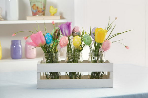 easter egg mason jar flower arrangement 38
