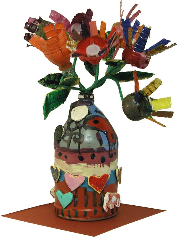 fake flower arrangement recycled materials 45