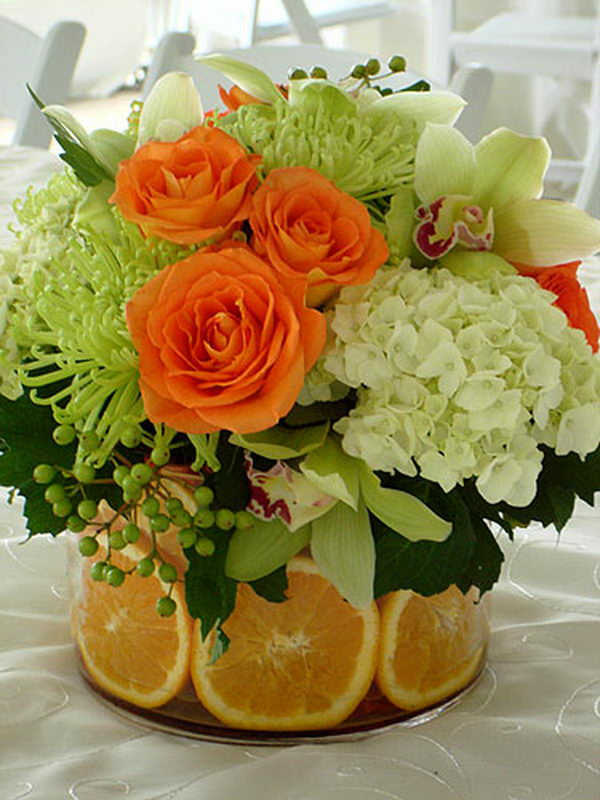 flower decor with citrus 10