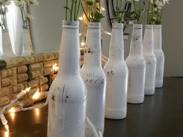 flowers in painted bottles 16
