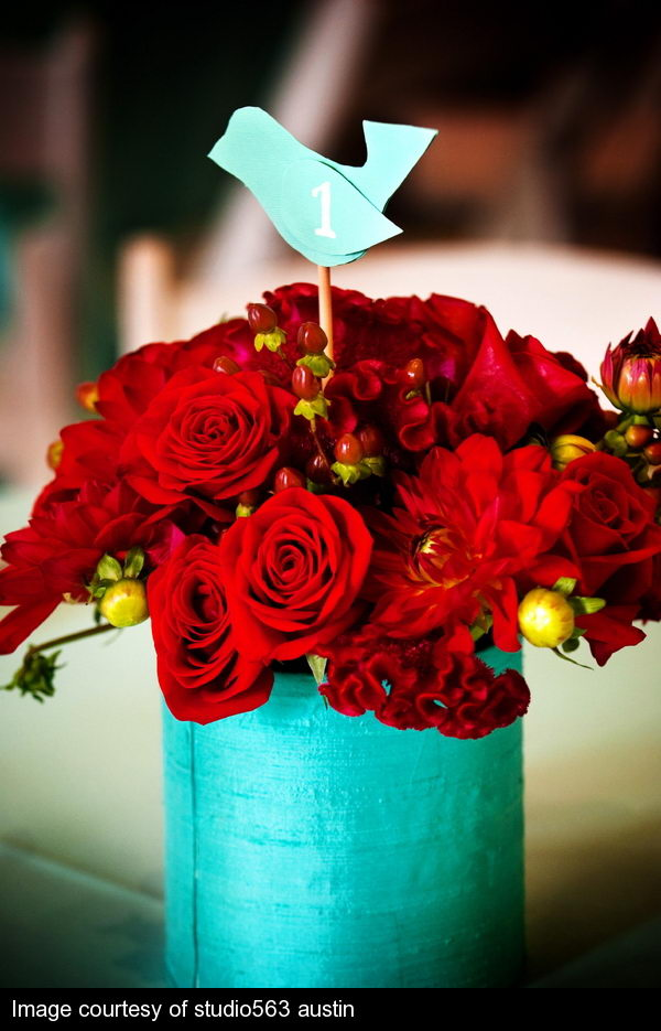red wedding flower arrangement number 12