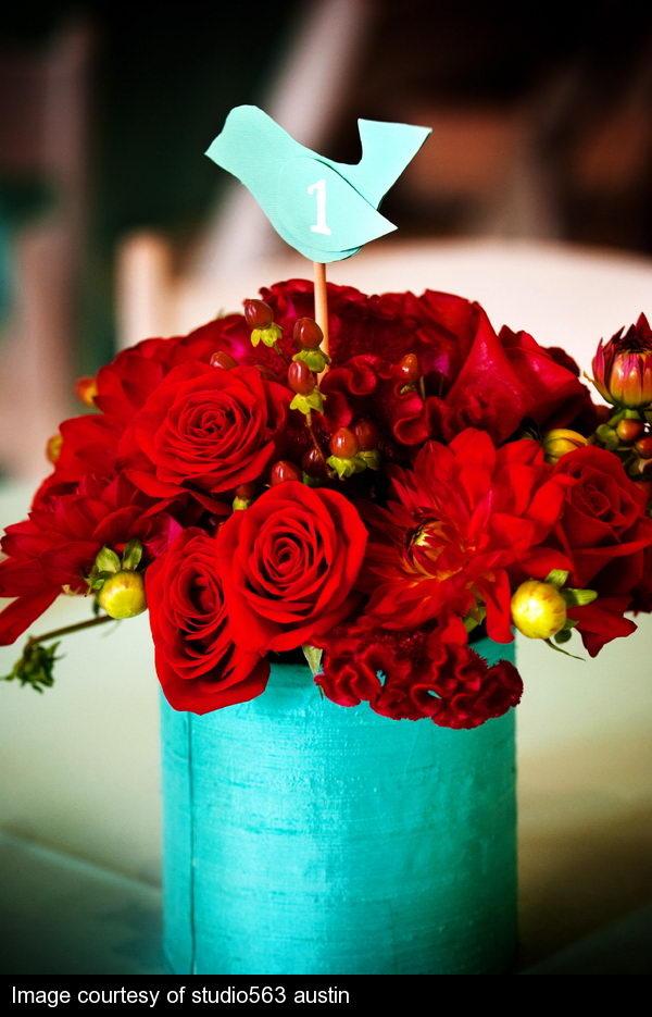 red wedding flower arrangement number 12