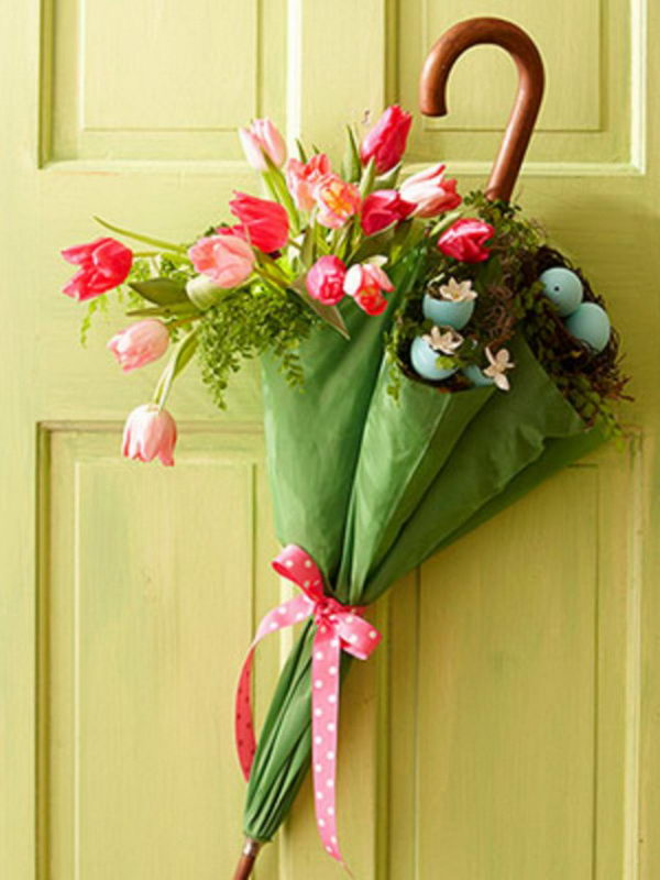 spring flowers decoration on door 30
