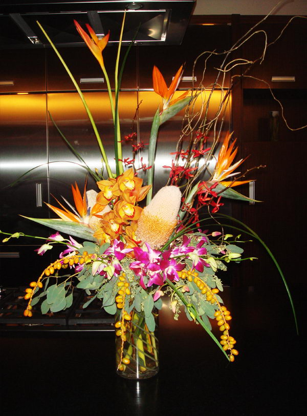 tropical flower vase arrangement 42
