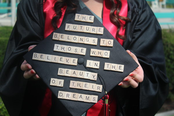 scrabble board pieces graduation cap idea 46