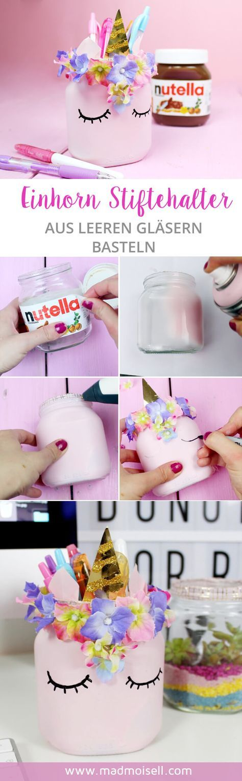 DIY Unicorn Pencil Holder Made From Mason Jar.