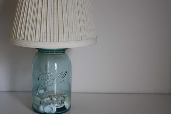 blue mason jar lamp craft 12