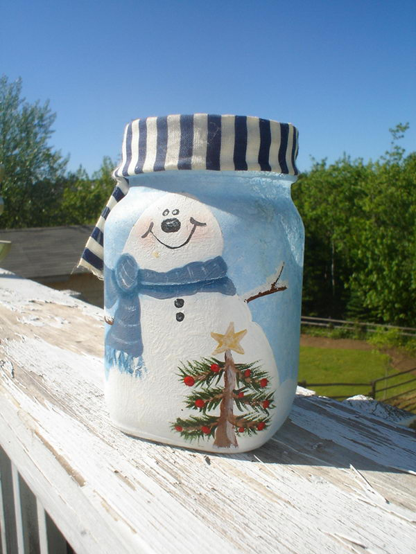 snow man candle holder 17