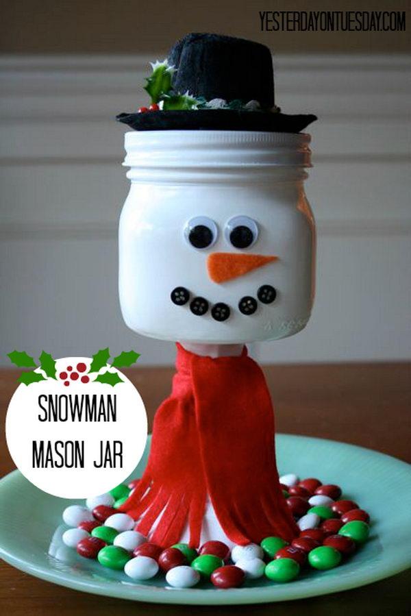 snowman mason jar idea 16