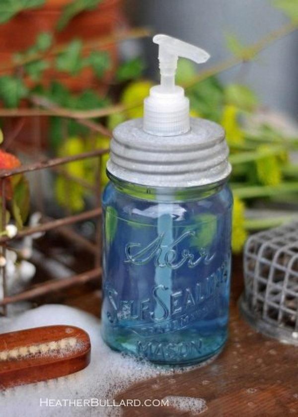 how to turn a mason jar into a soap dispenser 7