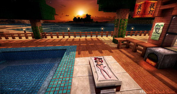 minecraft beach sunset 36