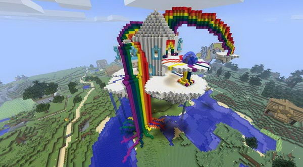 minecraft rainbow house 2