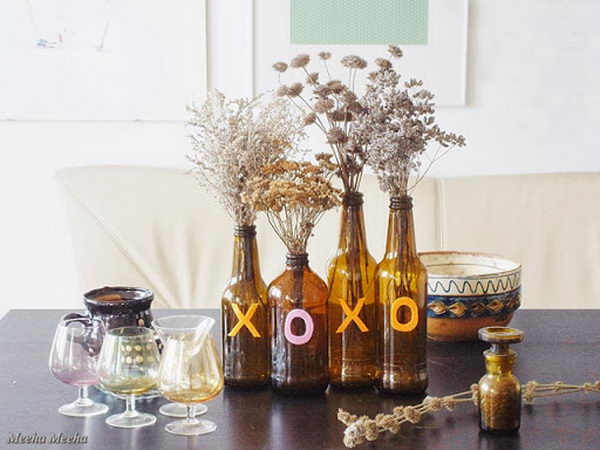 13 brown bottle fall centerpiece