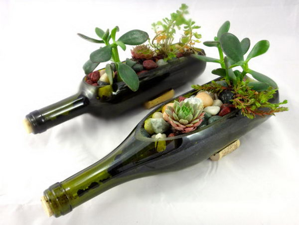 21 diy wine bottle mini garden