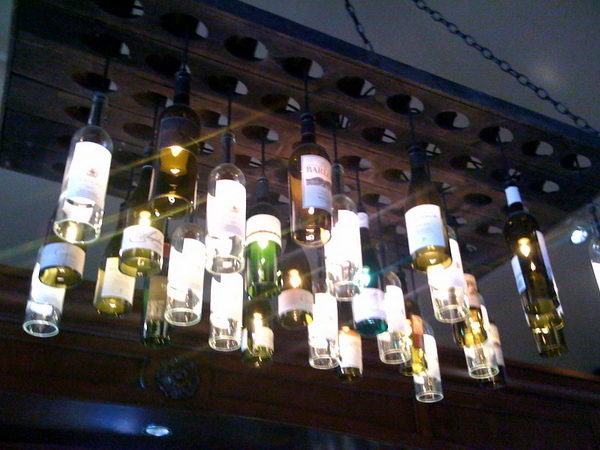 9 wine bottle chandelier