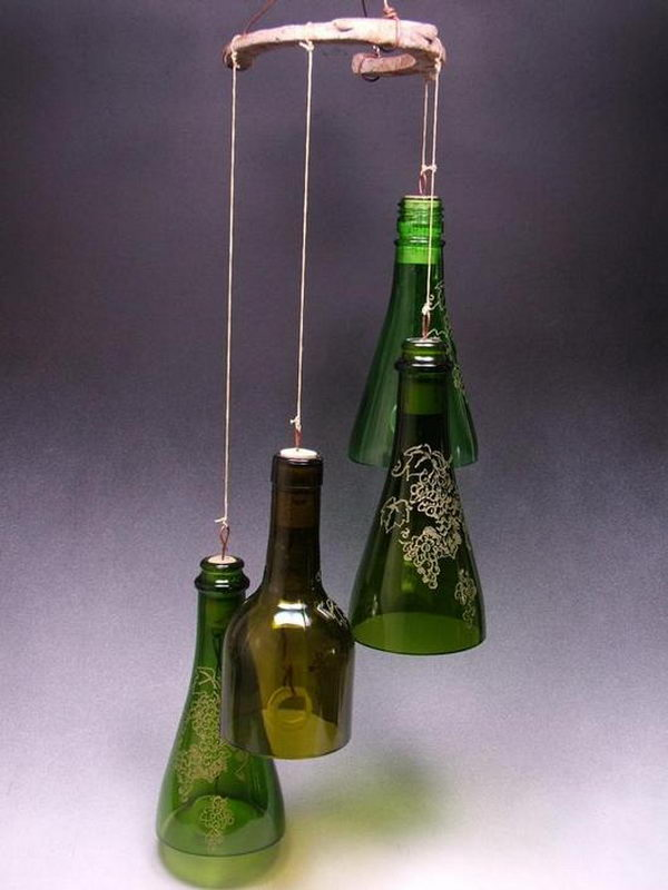 80 homemade wine bottle crafts 2017 for Homemade chimes