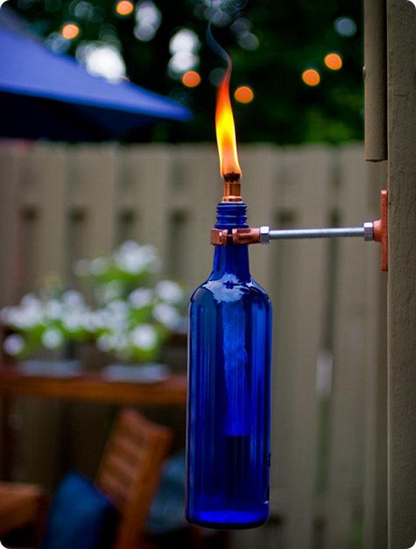 3 blue wine bottle torch