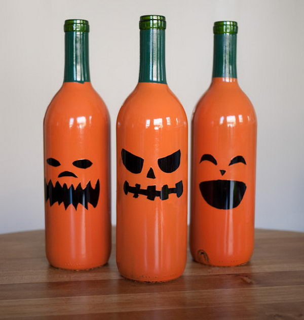 30 wine bottle jack o lanterns