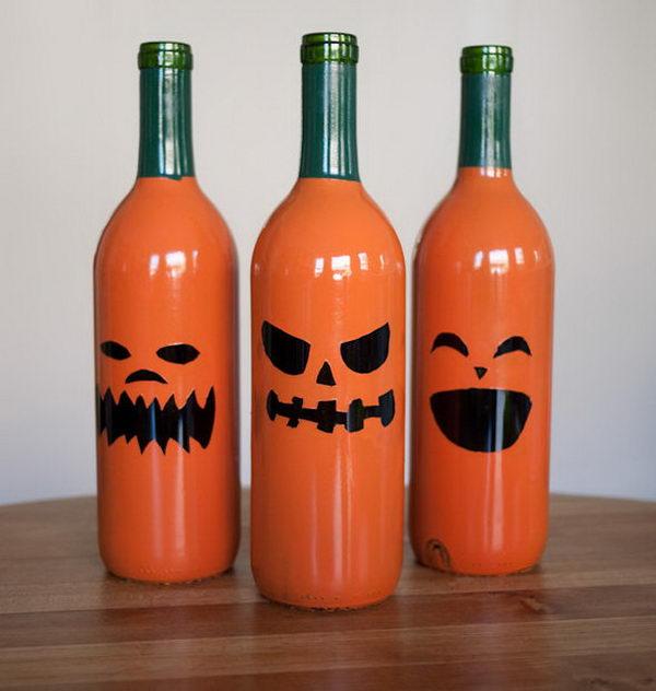 30 wine bottle jack o lanterns