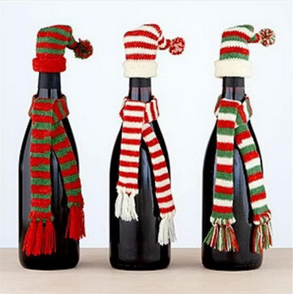 32 christmas crafts - Christmas Bottle Decorations