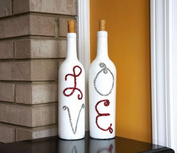 5 painted wine bottles valentine