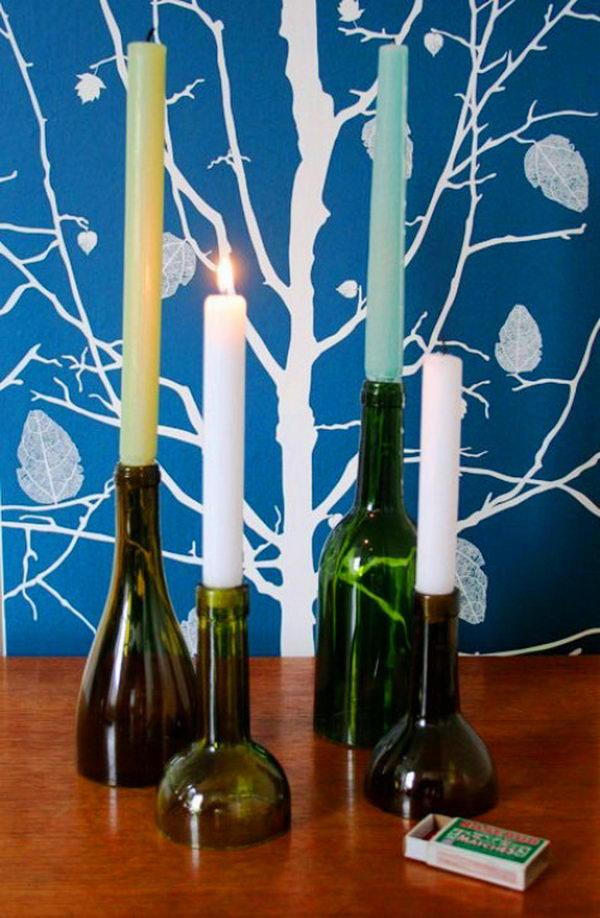 7 homemade bottle candle holder