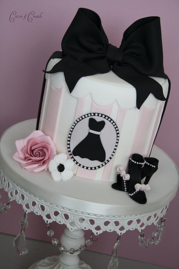 Pink and Black Display Cake,
