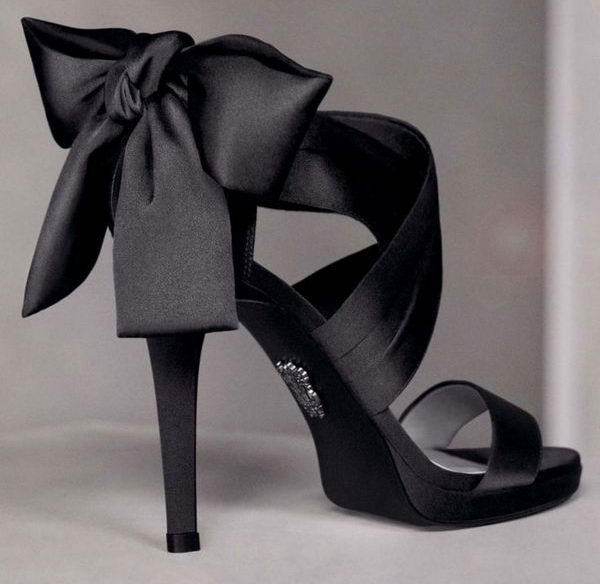 Black Bow Satin Heels,