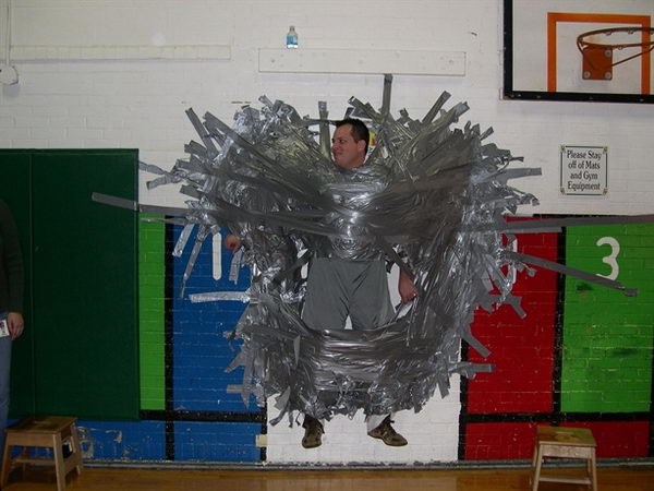 Duct Tape Fundraiser. Super successful fundraising event   each dollar donated buys a foot long piece of duct tape to tape the principal to the wall.