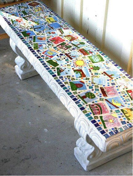 DIY Painted Bench for School Auction,