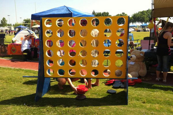 Fundraising Game. Giant connect four game at a Relay For Life team campsite.