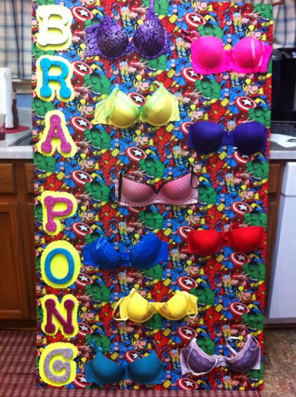 Bra Pong Game. For two dollars, you got one chance to hit the ping pong ball into the bra (or three for five dollars). What a great way to have fun while raising breast cancer awareness.
