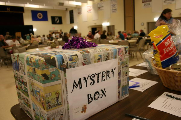 Mystery Box Auction Fundraising Idea. A mystery box at the CVLHS silent auction attracted plenty of attention.