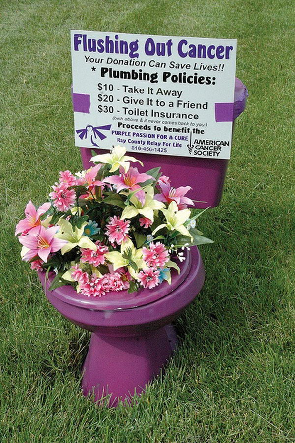 Flushing Out Cancer Fundraising Idea. Basically, you drop the potty on a lawn, and the homeowner has to pay to have it removed. $10 for removal, $20 to move it to a friend's house, and $30 for the above + the promise that it won't come back to them.
