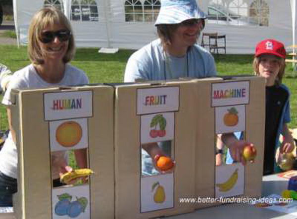 Human Fruit Machine Fundraising Idea. Fruits are randomly pulled from a box or sack by the stallholder. If the fruits match there will be a prize.