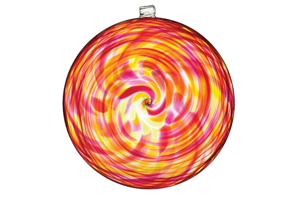 Hand Crafted Discs Kitras Art Glass. Swirls of colour play with the natural light attracting hummingbirds and butterflies.