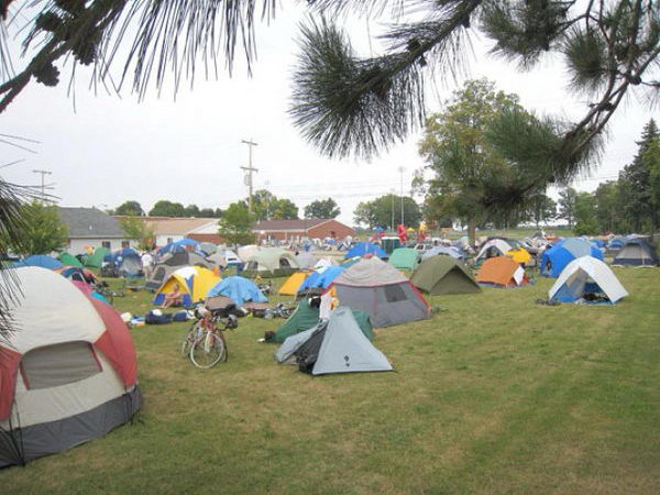 11 campout on the football field