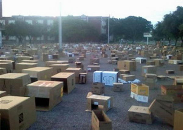 15 tons of cardboard boxes in the parking