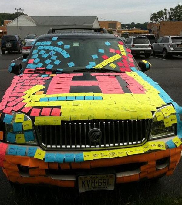 19 sticky note on teachers car
