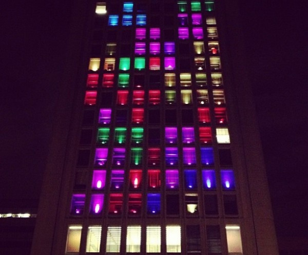 4 campus buildings playable tetris game