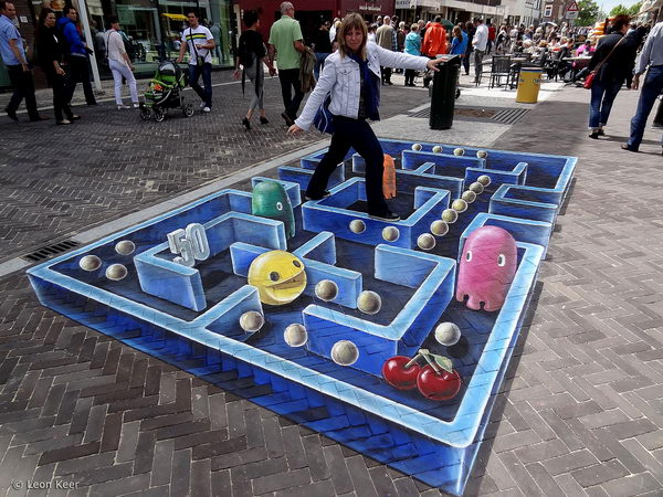 3D Pac Man Painting. Leon Keer created this amazing 3D street painting in Venlo, The Netherlands.