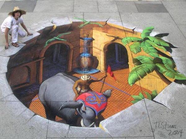 Elephant 3D Street Art.