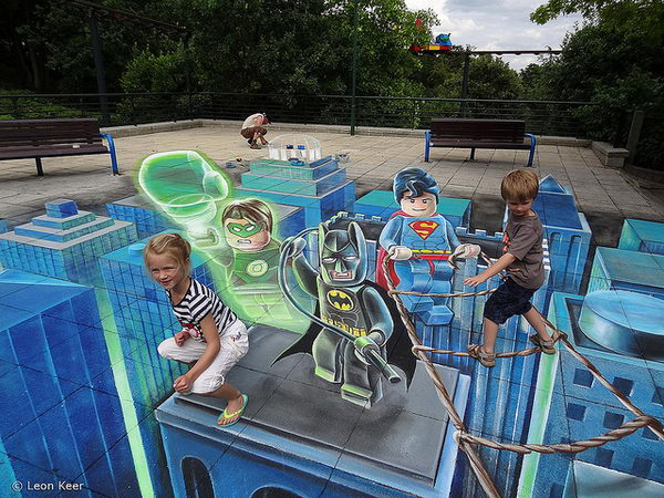 3D Floor Art Lego Superheroes. 3D street painting at Legoland Windsor UK. It was created by Leon Keer and Roland Josuttis.
