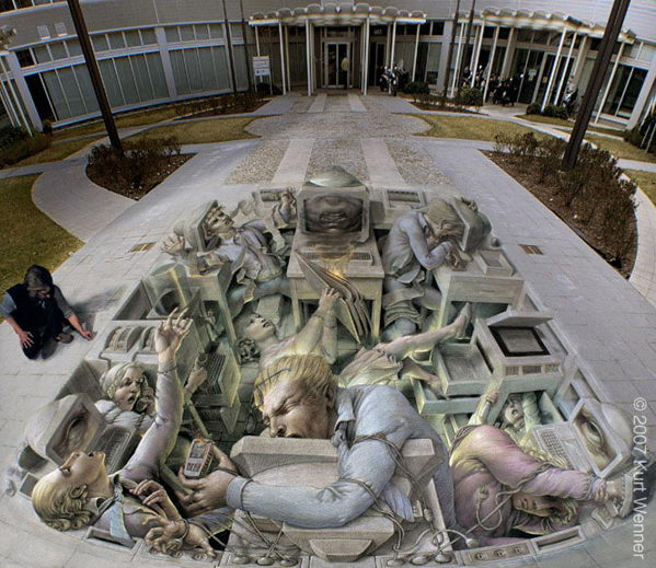 3D Street Art Office stress.
