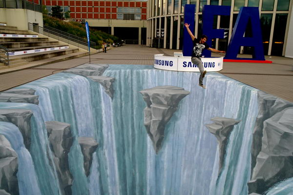 Waterfall 3D Street Art. 3d street painting WATERFALL at the IFA (biggest fair in the world for electronic products), Berlin 2010.