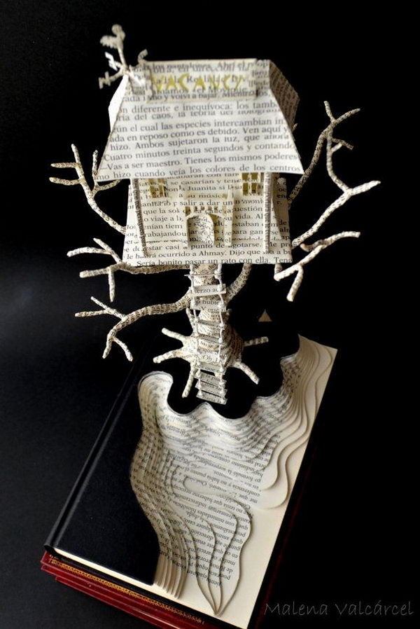 Haunted Hotel Book Sculpture,
