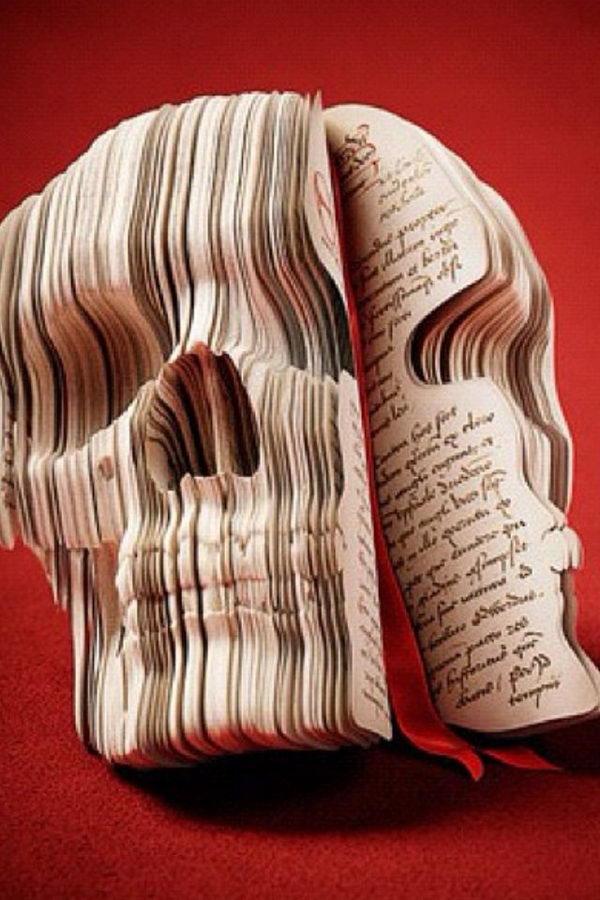 Skull Book Sculpture,